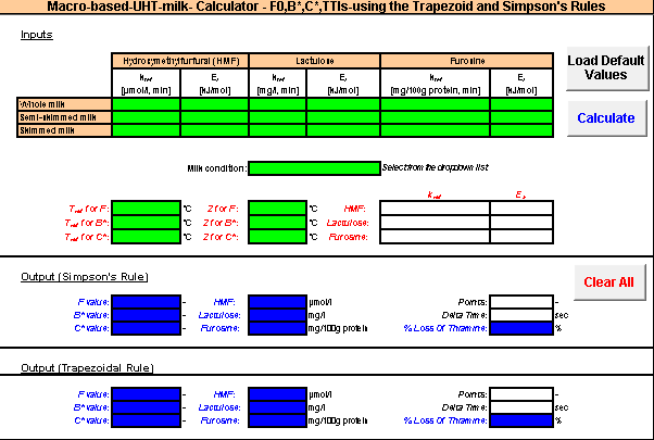 Figure 9. Detail of macro-enabled spreadsheet for calculating lethal values and chemical indicators of UHT processing of milk.