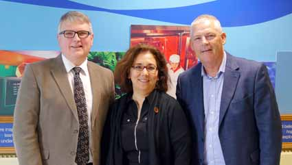 Naomi Posner-Horie pictured with Sam Kennedy and Michael Mullan