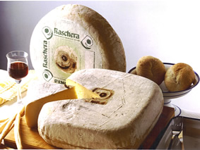 Raschera is a cylindrical or quadrangular shaped cheese with flat surfaces