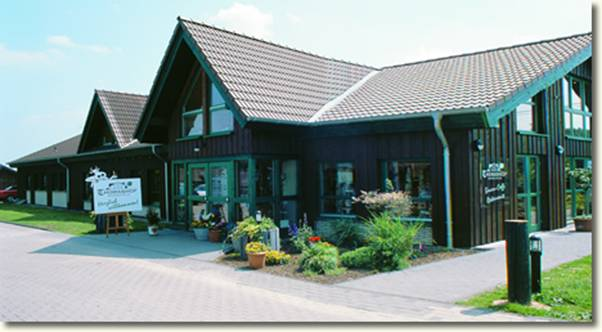 Exterior of farm dairy shop at Thomashof in Burscheid