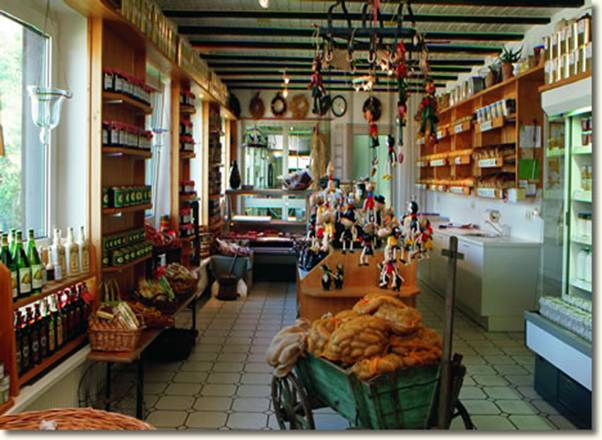 Interior of farm dairy shop at Thomashof in Burscheid