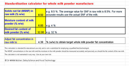 Image of Excel spreadsheet for producing whole milk powder to fat target