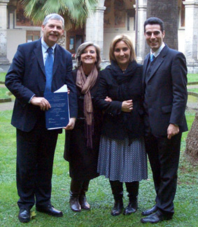 The author pictured with Professor M. L. Cortesi, Professor N. Murru and Dr G. Aprea at the University of Naples